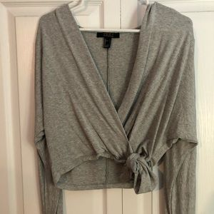 Wrap Tied Grey Top Long Sleeve Cropped Forever 21